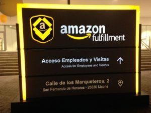 Rótulo con luz de amazon